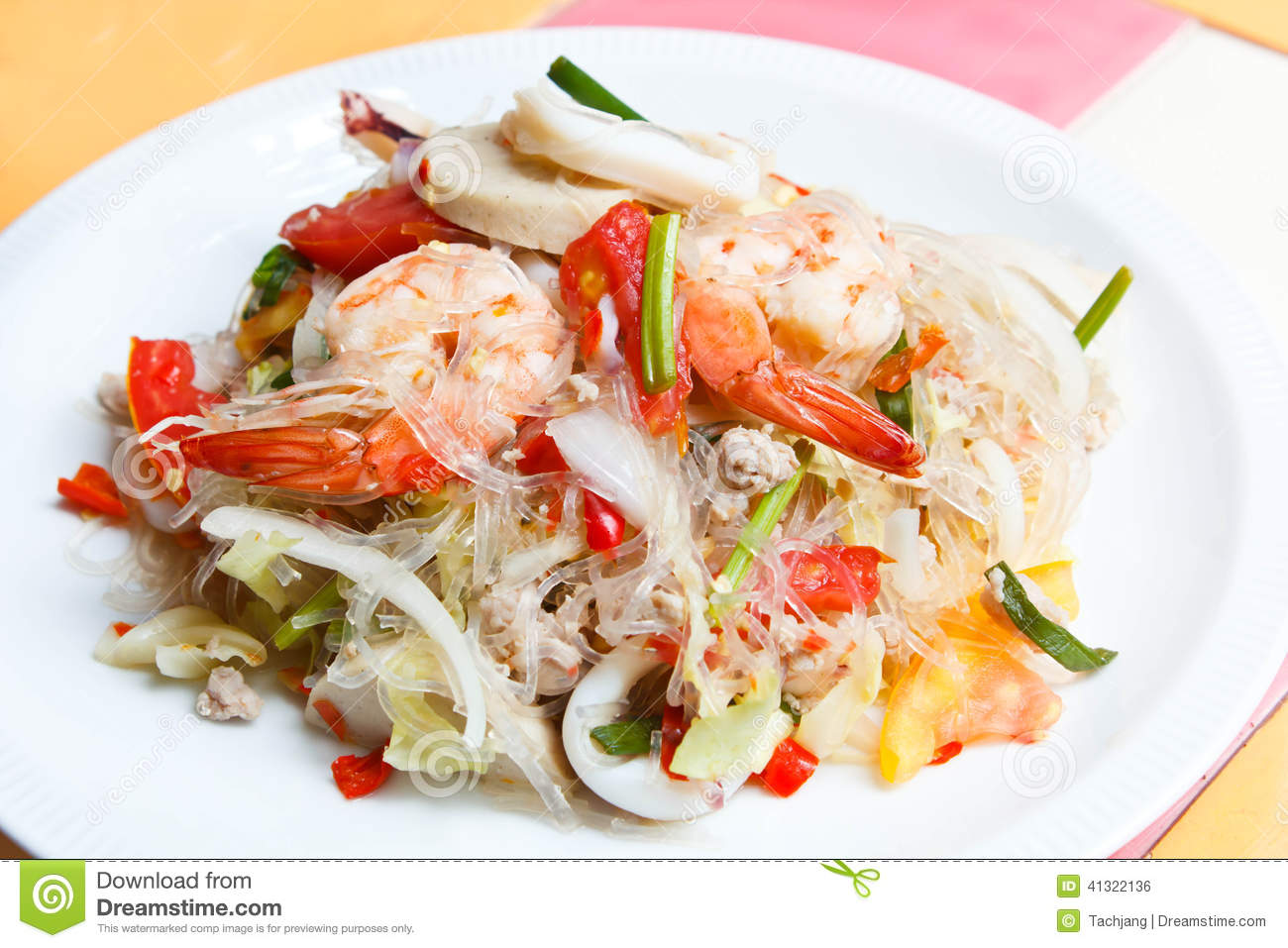 Mixed seafood and pork spicy Thai salad.