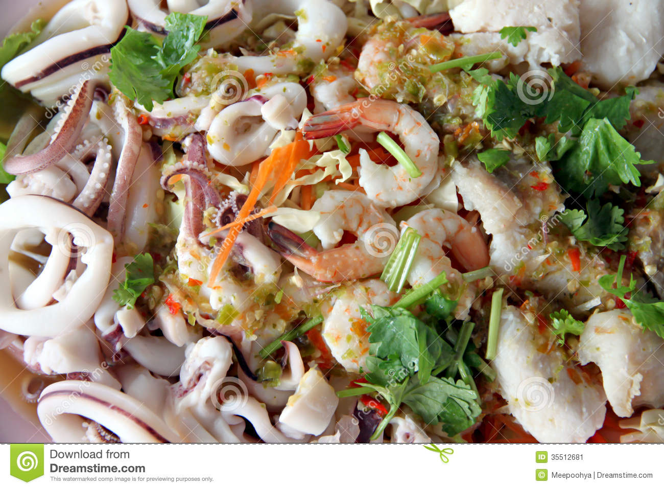 Mixed seafood salad stock image image 35512681 for Fish and salad