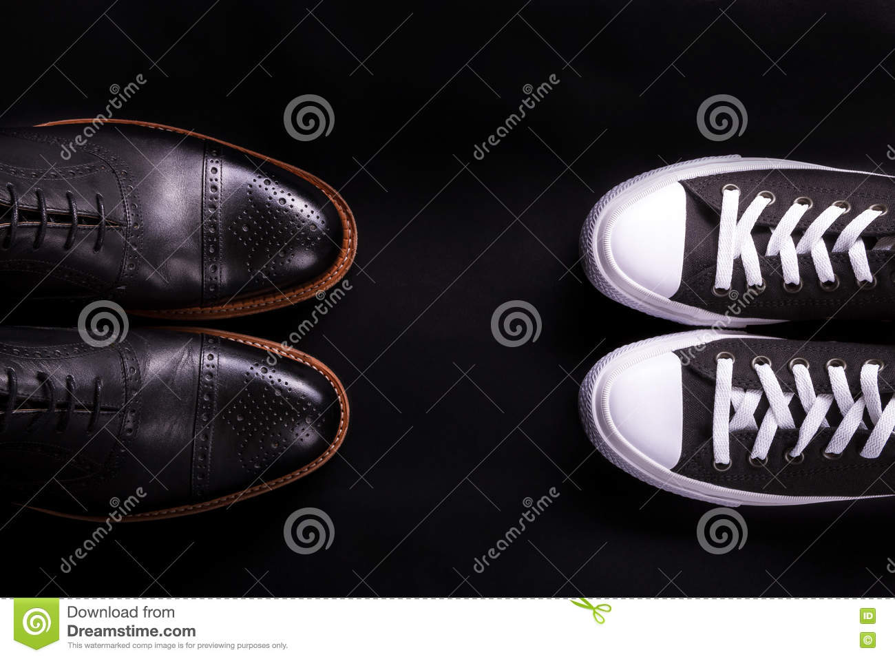 9100d9920158 Mixed shoes. Oxford and sneakers shoe on black background. Different style  of men fashion. Compare of formal and casual. Top view. Copy space.