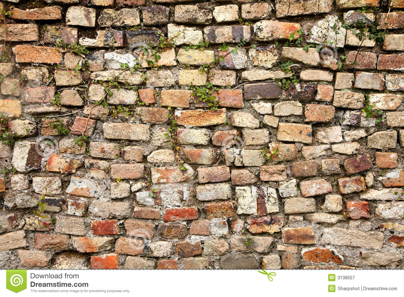 A mixed stone and bricks wall royalty free stock for Mixing brick and stone