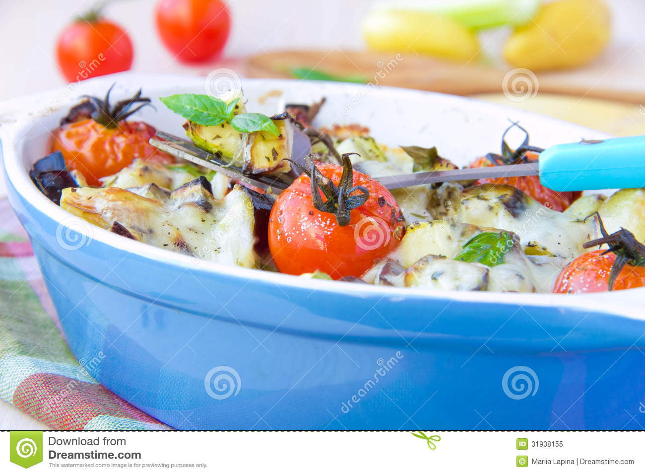 Mixed Vegetable In Blue Bowl Baked In The Oven With Cheese
