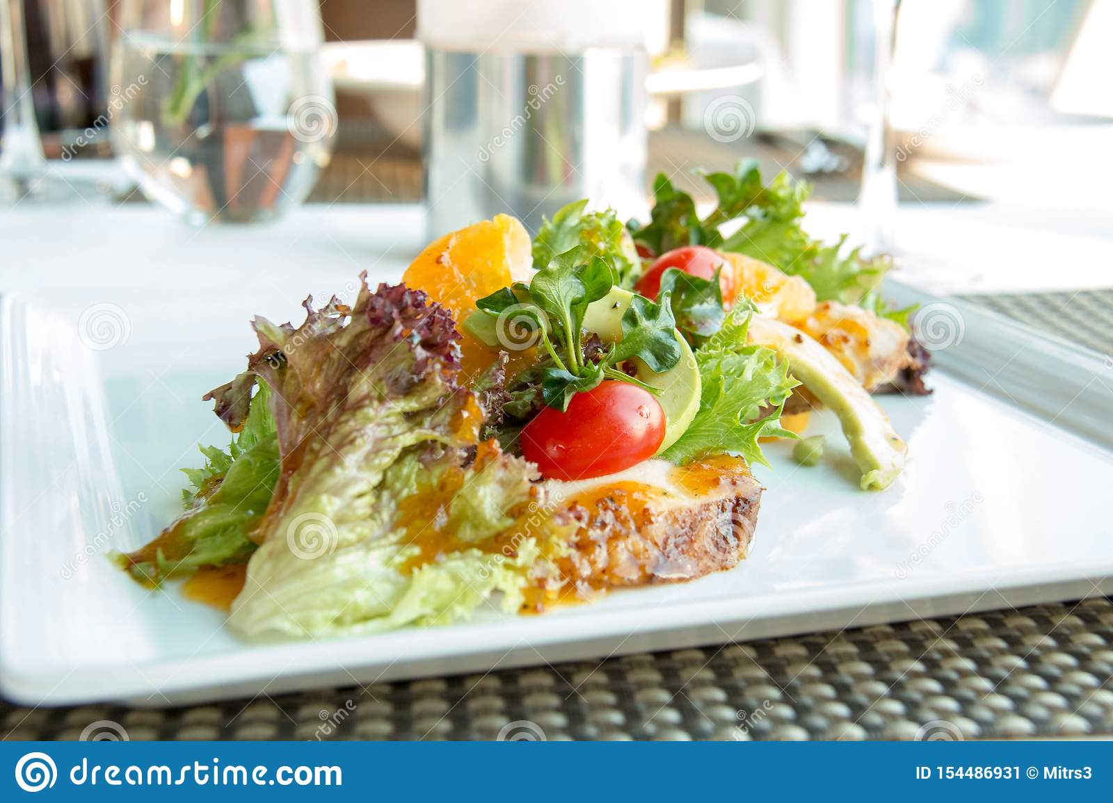 Mixed vegetables salad in white plate
