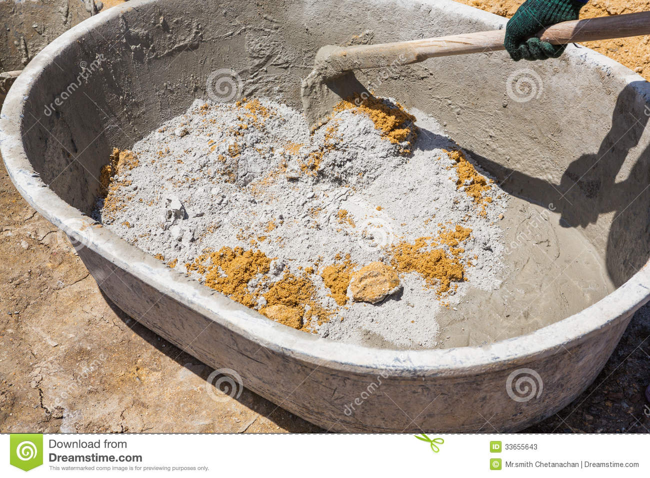 Mixing Concrete In Tub Stock Photos Image 33655643