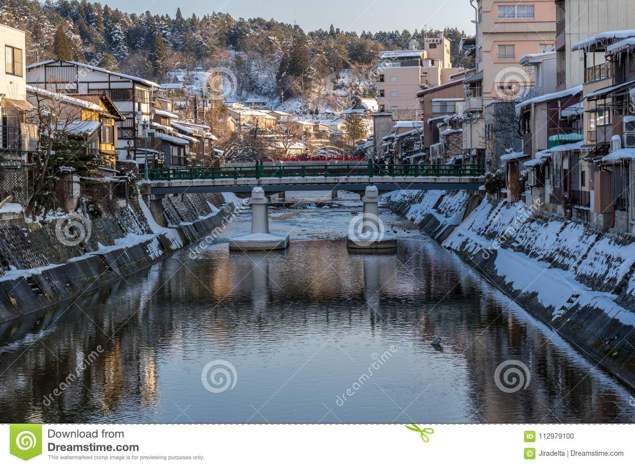 Miyagawanaka River of Takayama town in Winter