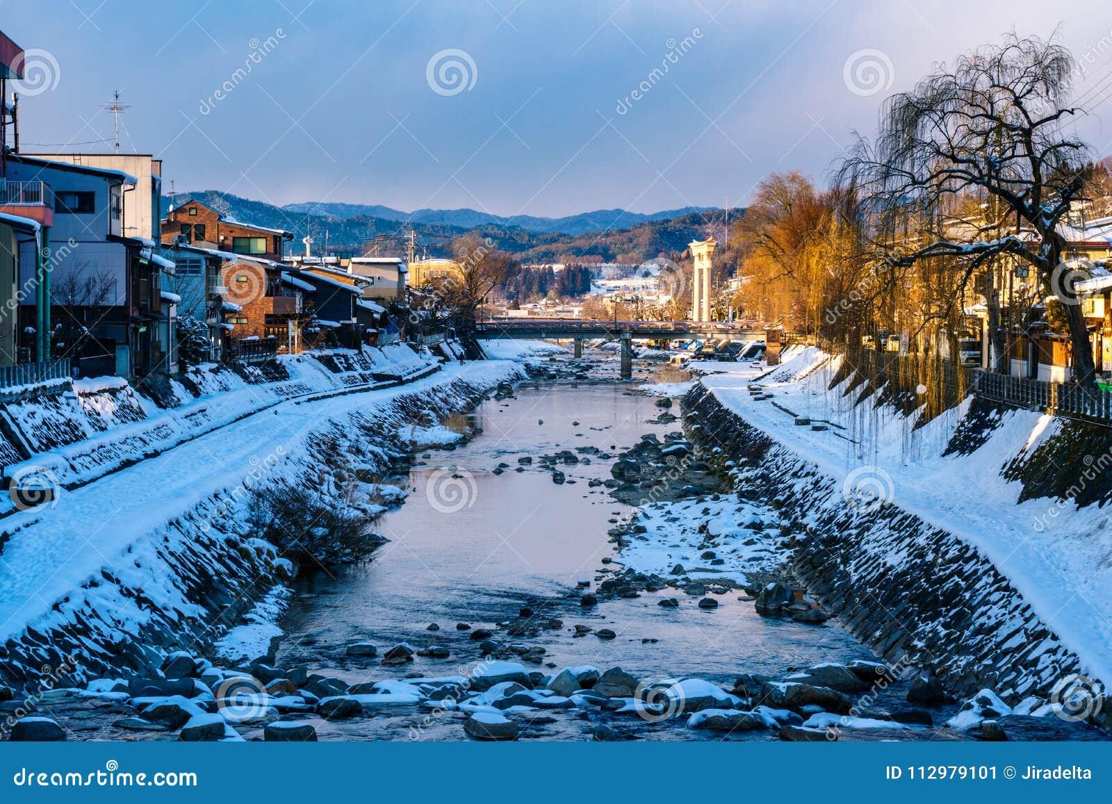 Miyagawanaka River of Takayama town in Winter