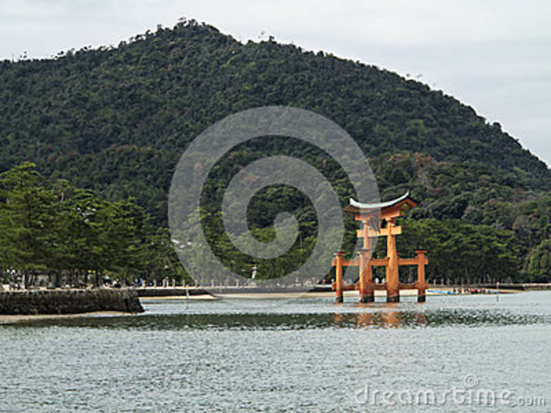 Miyajima Torii Gate In The Water At Itsukushima Shrine ...
