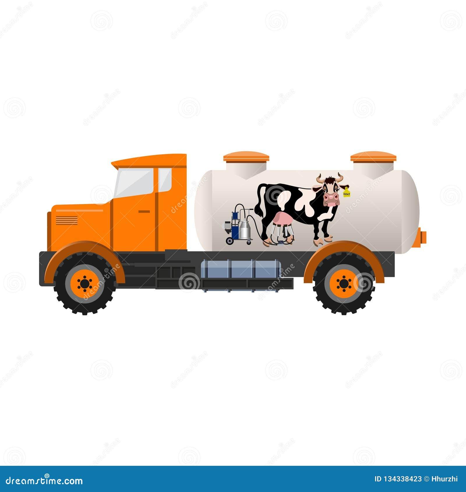 Mjölka behållarelastbilen