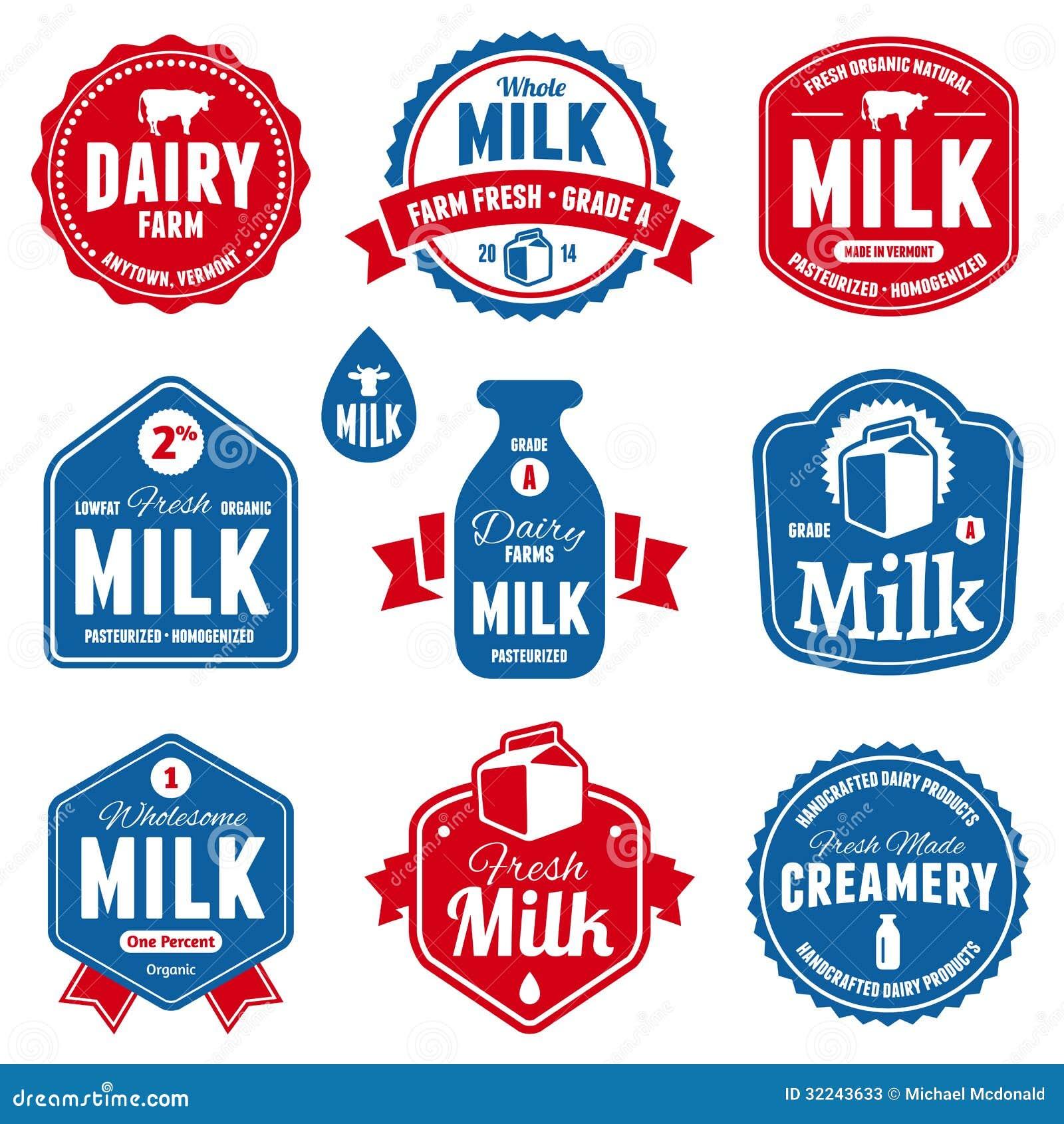 Mjölka etiketter