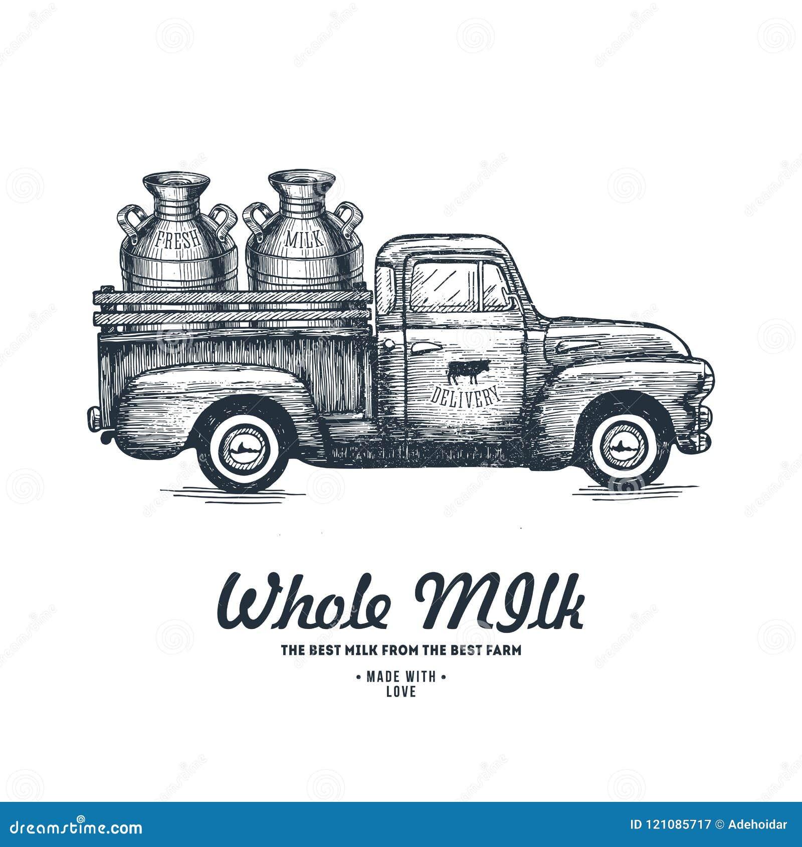 Mjölka lantgårdleveransen Lastbil inristad illustration Tappningjordbruk också vektor för coreldrawillustration
