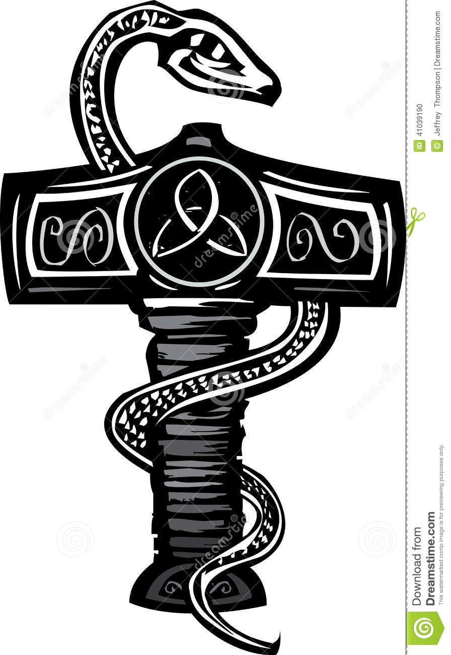 mjolnir and serpent stock vector image of thor hammer