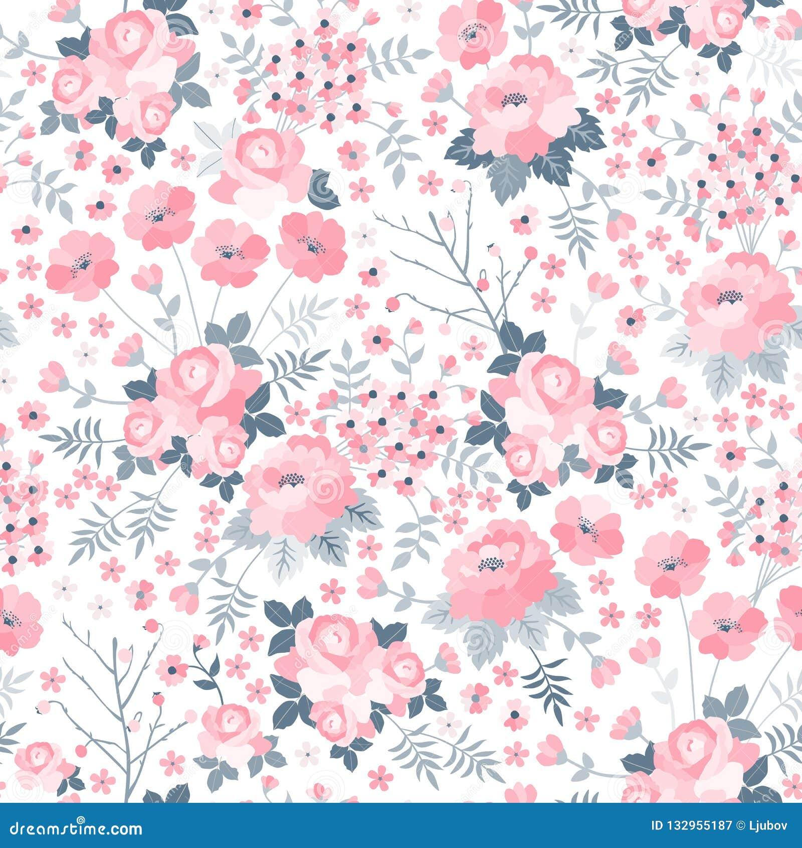 Mjuk sömlös modell med rosa blommor på vit bakgrund Ditsy blom- illustration