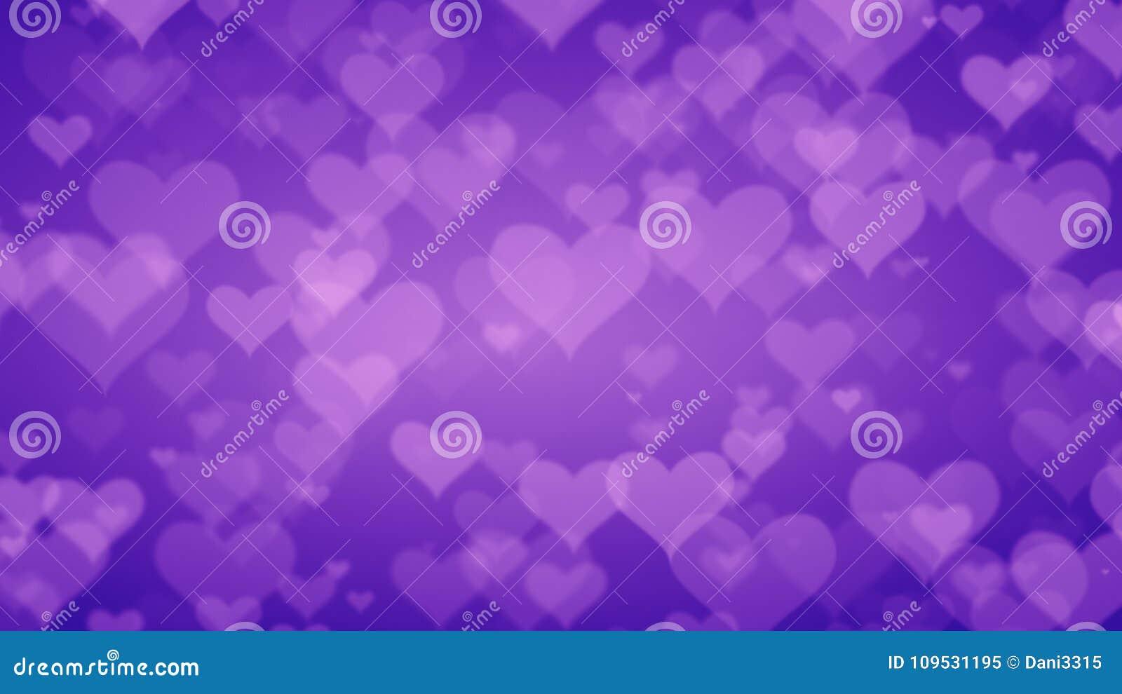 Mjuka purpurfärgade hjärtor på graderad bakgrund Valentindag Conce