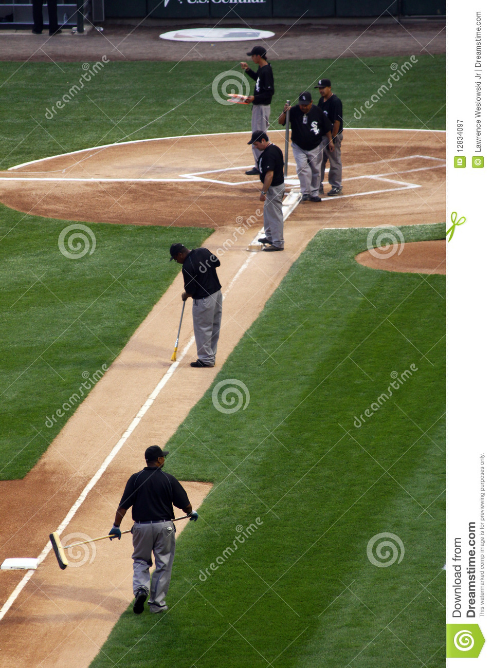 Mlb Baseball Grounds Crew Working On The Infield