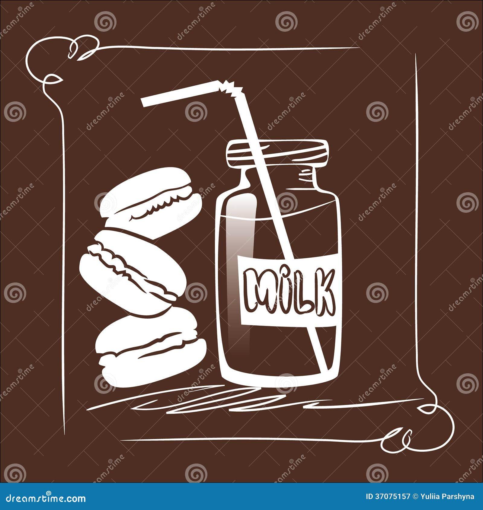 Download Mleko & ciastka ilustracji. Ilustracja złożonej z arte - 37075157