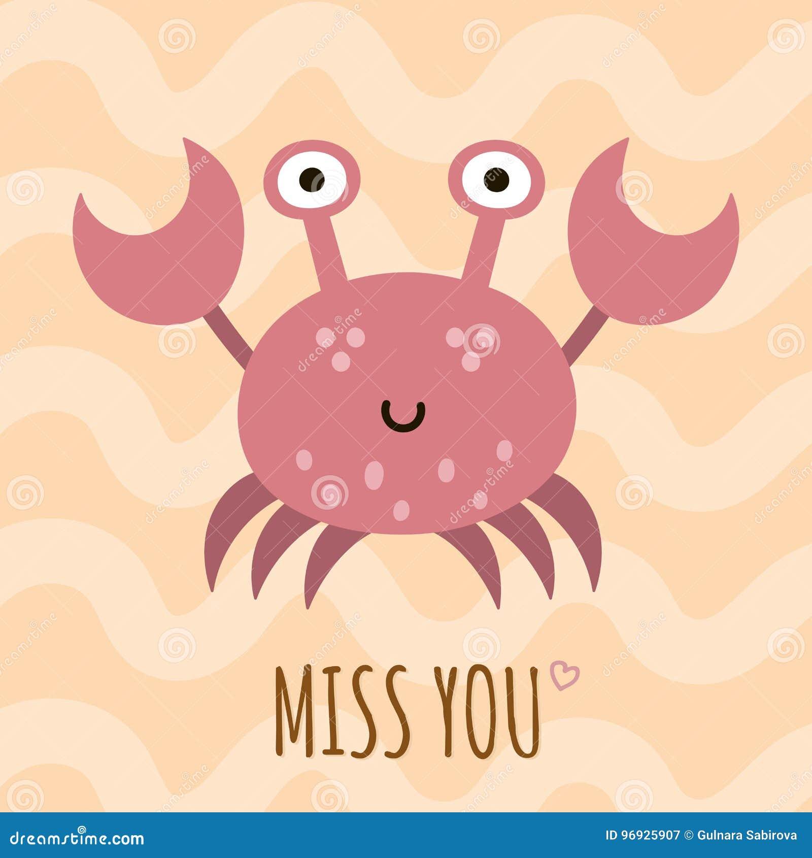Mlle vous carte mignonne, affiche avec un crabe drôle
