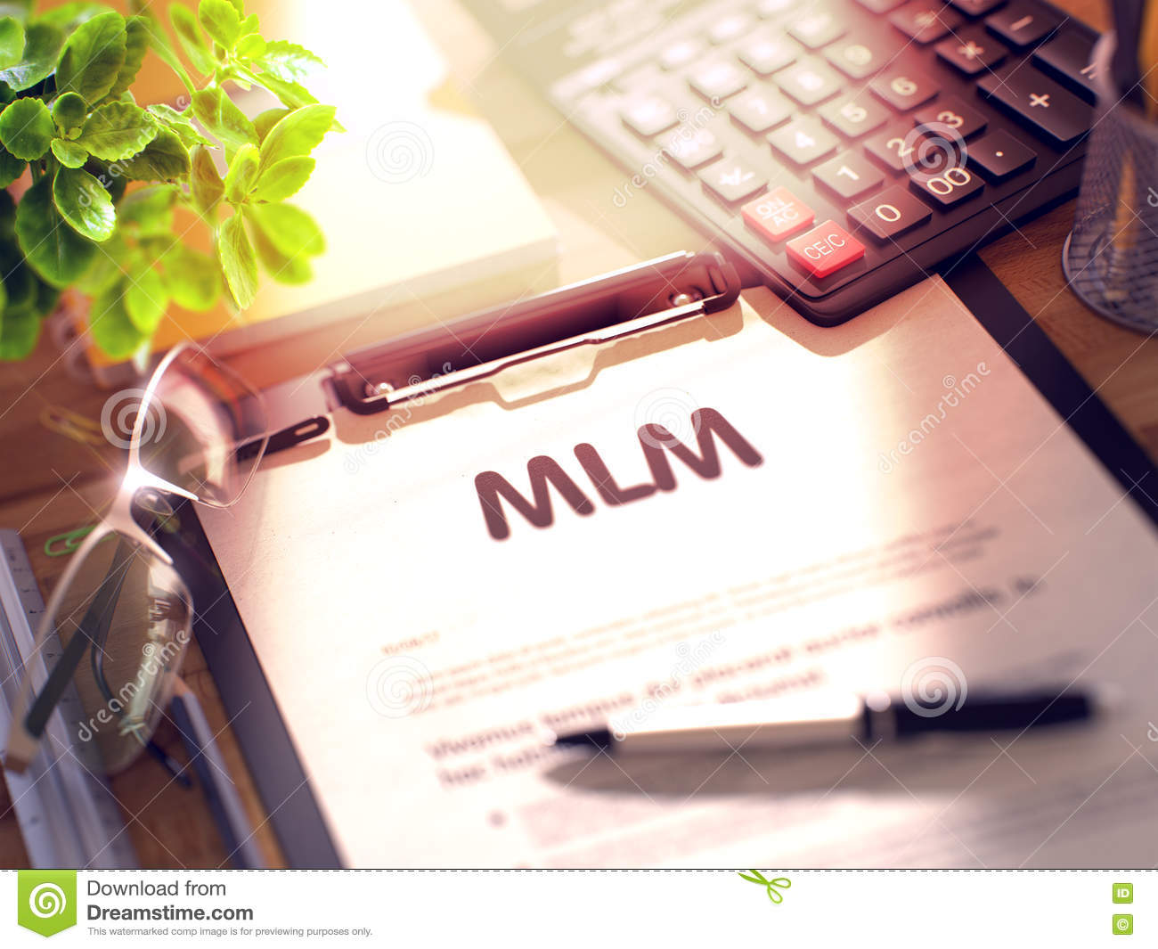 Download MLM   Text On Clipboard. 3D. Stock Image   Image Of Concept,