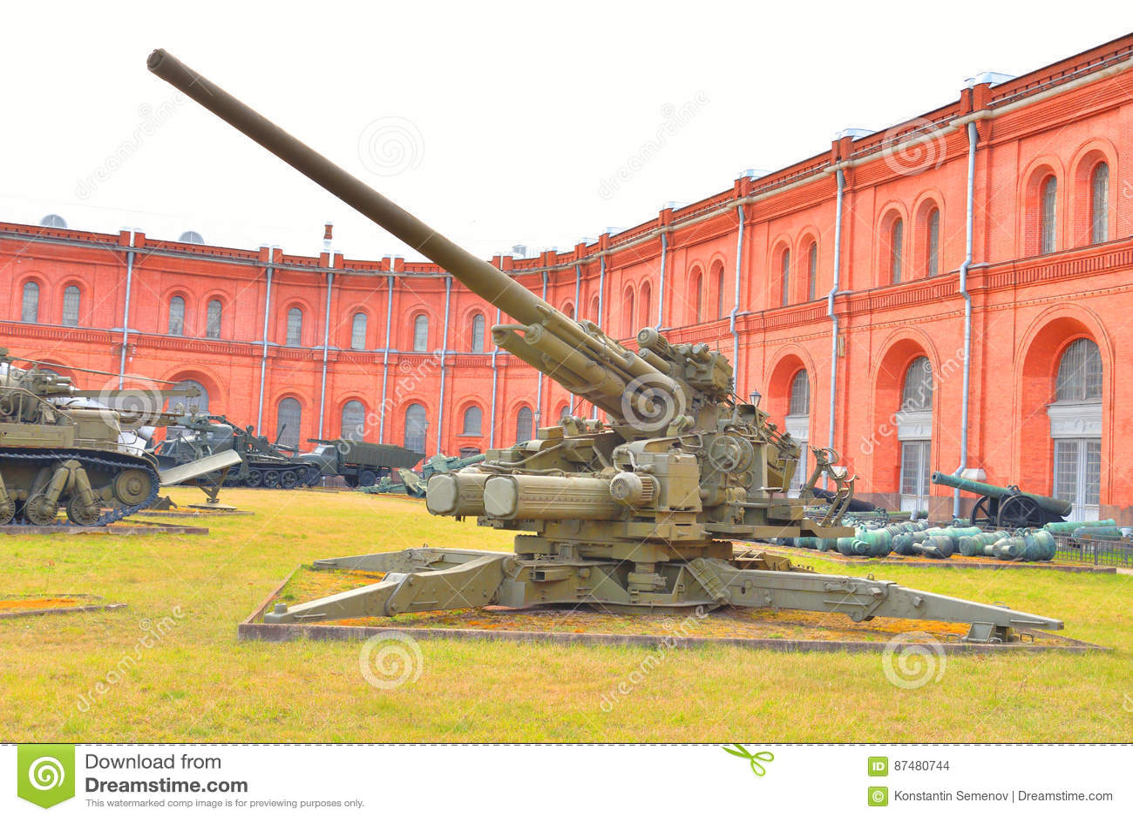 130mm anti-aircraft gun KS-30 in Military Artillery Museum.