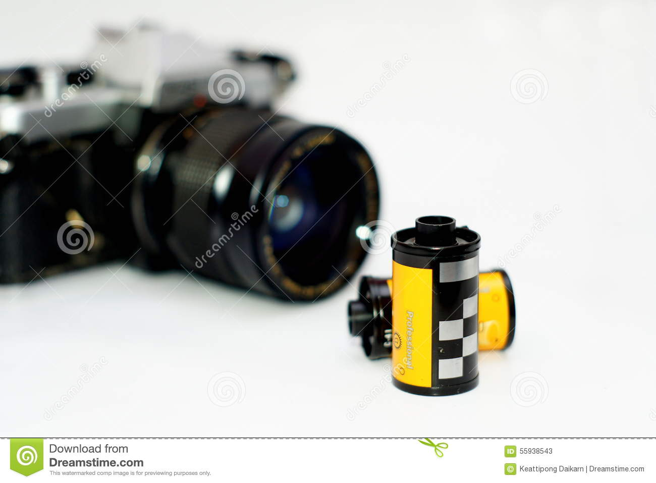 35mm Film Rolls And Film Camera Stock Image - Image of