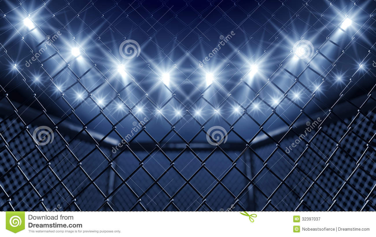 Mma Cage And Floodlights Royalty Free Stock Photography