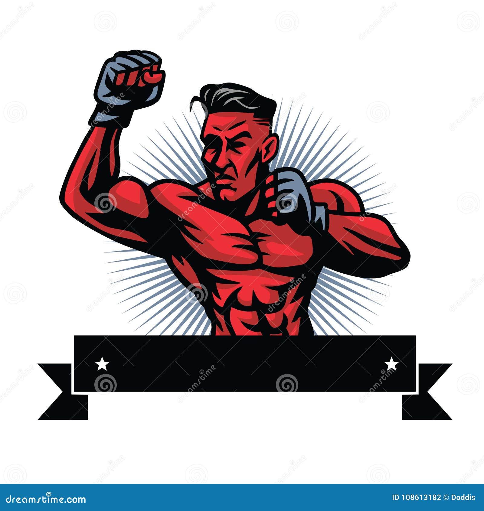 MMA-Vechter Logo Design Template