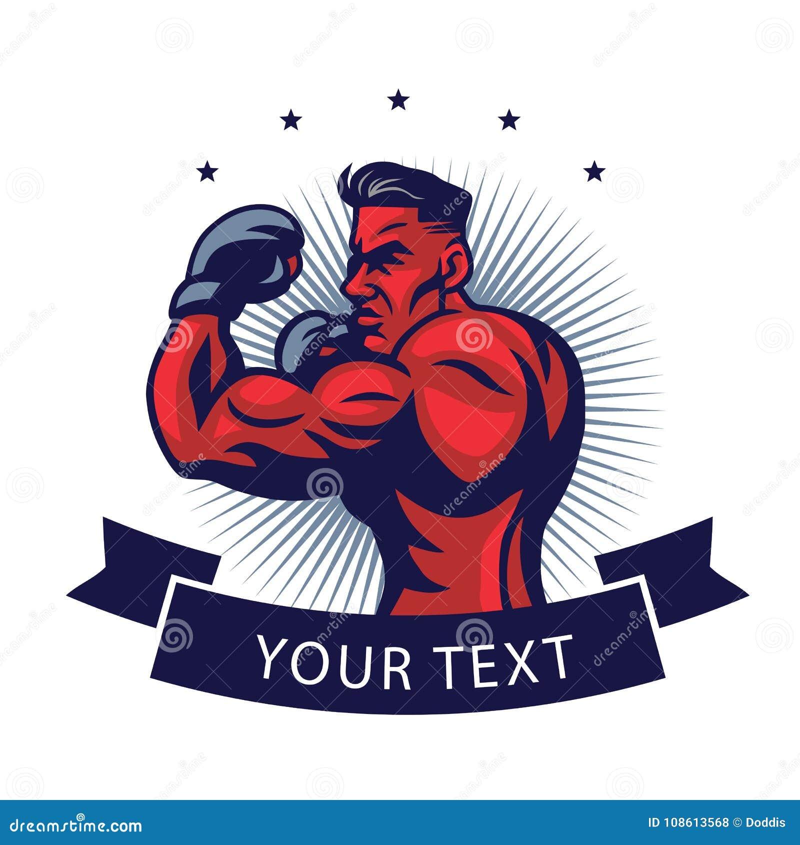 MMA-Vechter Logo Design Template Vector Illustration