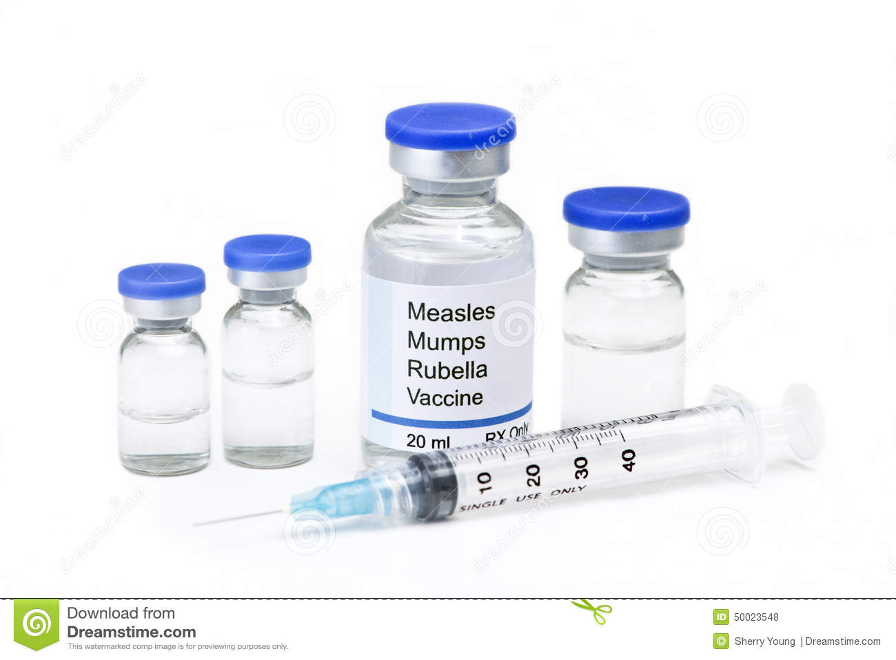 Measles, mumps, rubella, virus vaccine vials and syringe on white ...