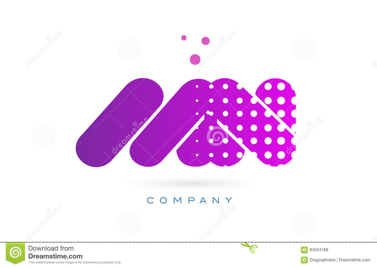 mn m n pink dots letter logo alphabet icon stock vector