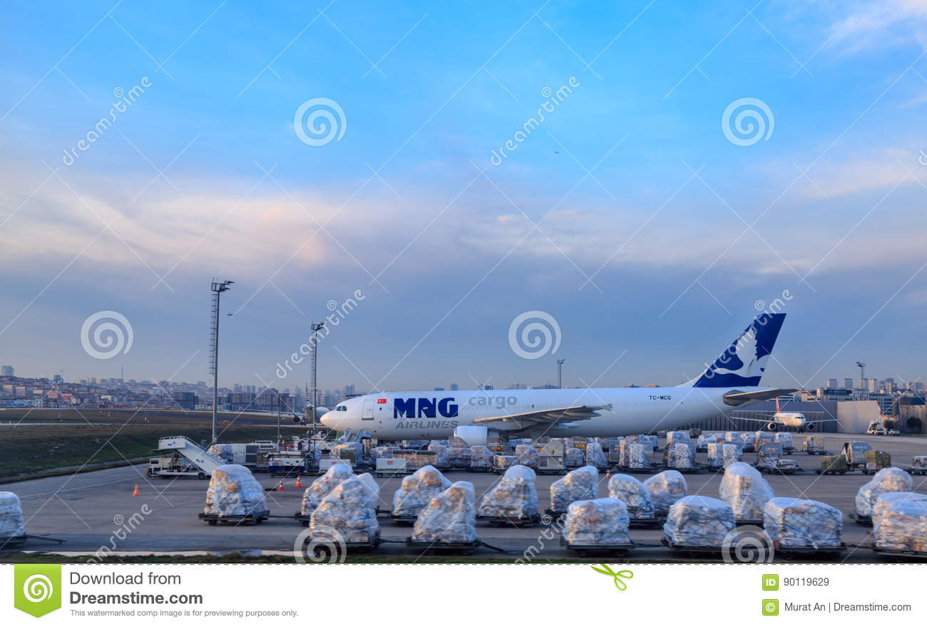 MNG Cargo Shipping Company Plane With Shipment Equipment At