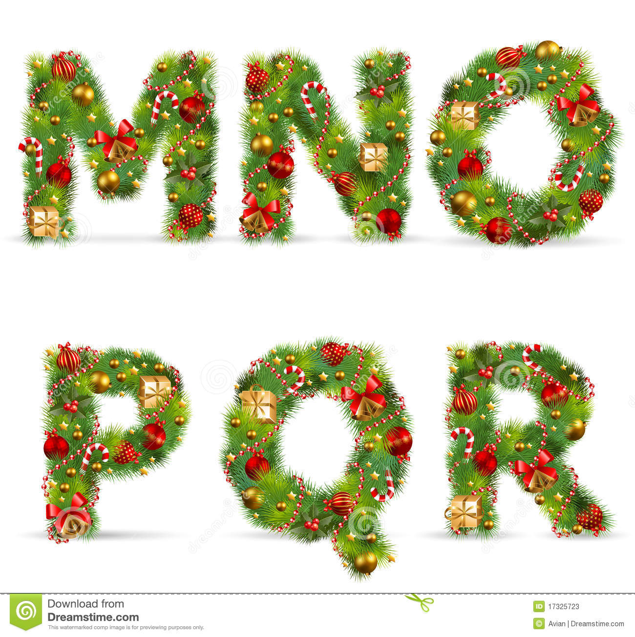 Mnopqr christmas tree font stock vector image 17325723 for Christmas tree letters