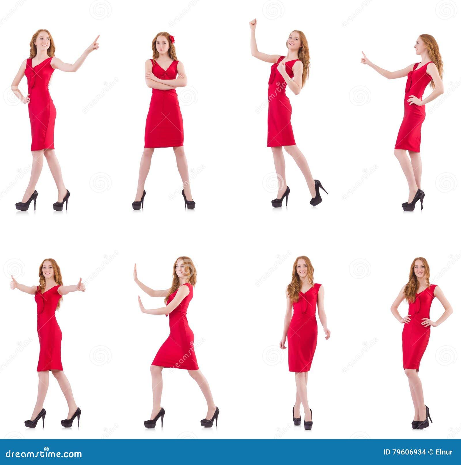 A moça bonita no vestido vermelho isolado no branco