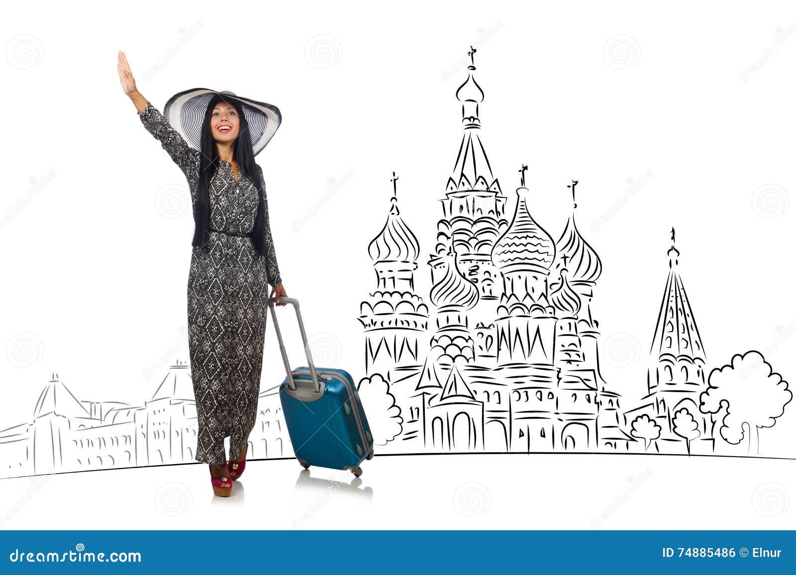 A moça no conceito do turismo a Rússia