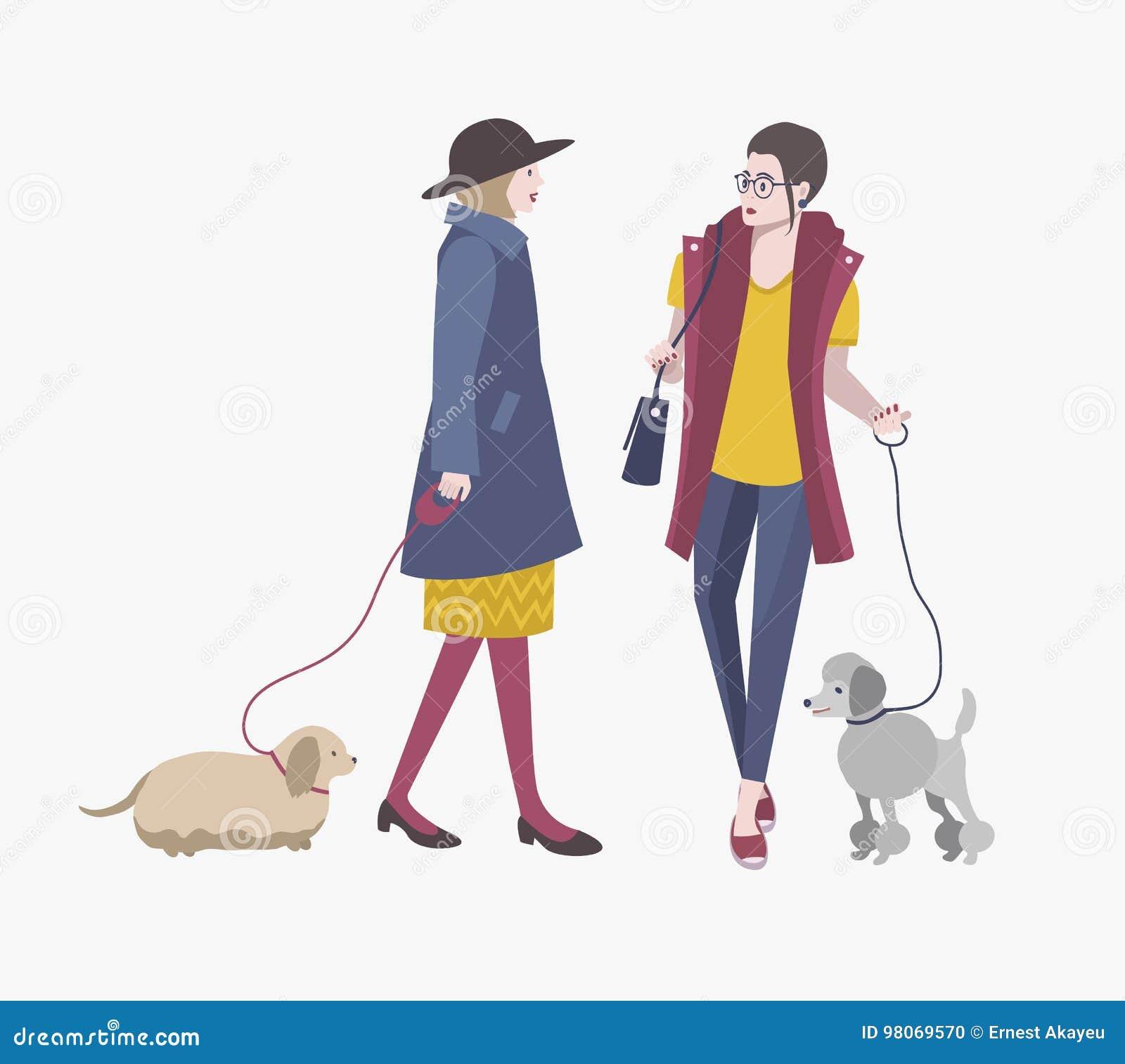 Moças que andam com cães, ilustração lisa colorida do vetor