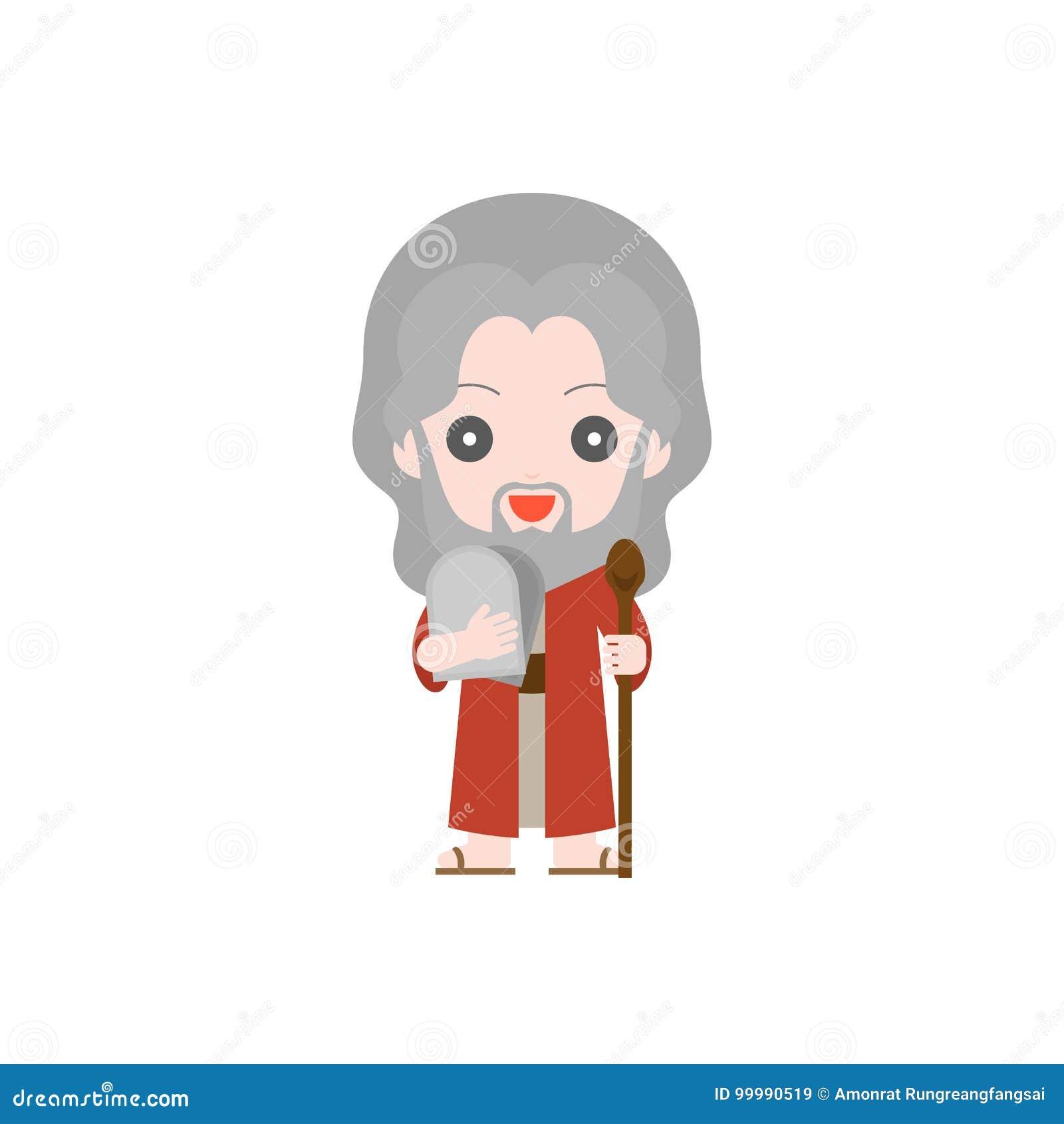 Moïse avec dix commandements et matteh de tige