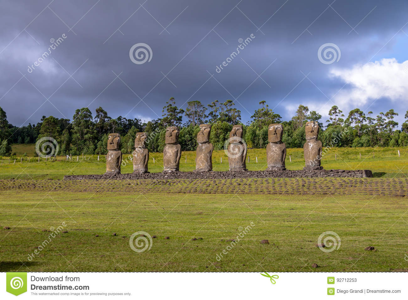 Moai Statues of Ahu Akivi, the only Moai facing the ocean - Easter Island, Chile