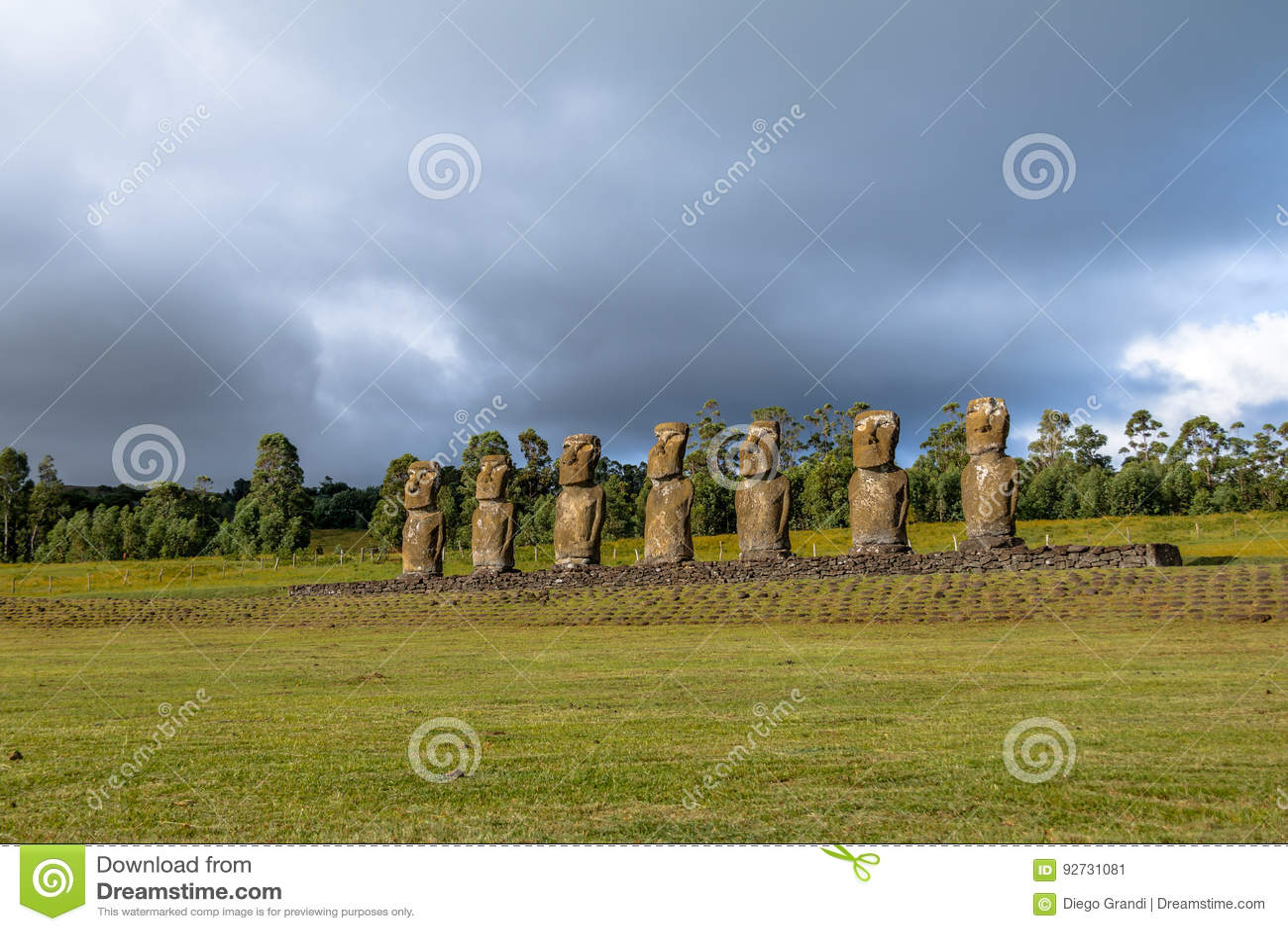 Moai Statues of Ahu Akivi, the only Moai facing the ocean - Easter Island, Chile