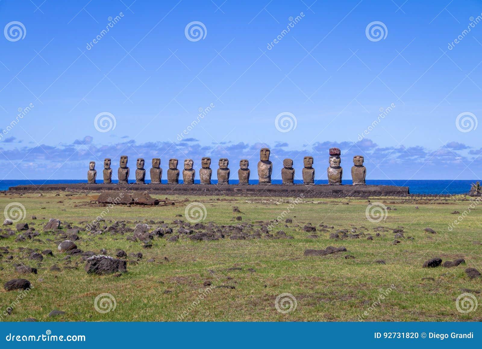 Ahu Tongariki Moai At Sunrise Easter Island Stock Photo