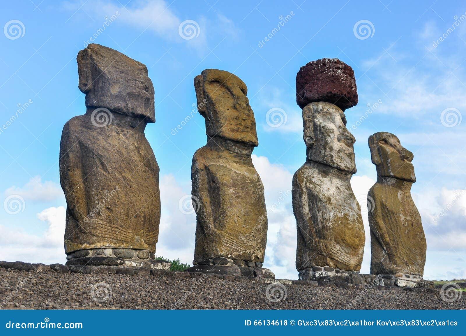 Moais Of Ahu Tongariki Easter Island Stock Photo