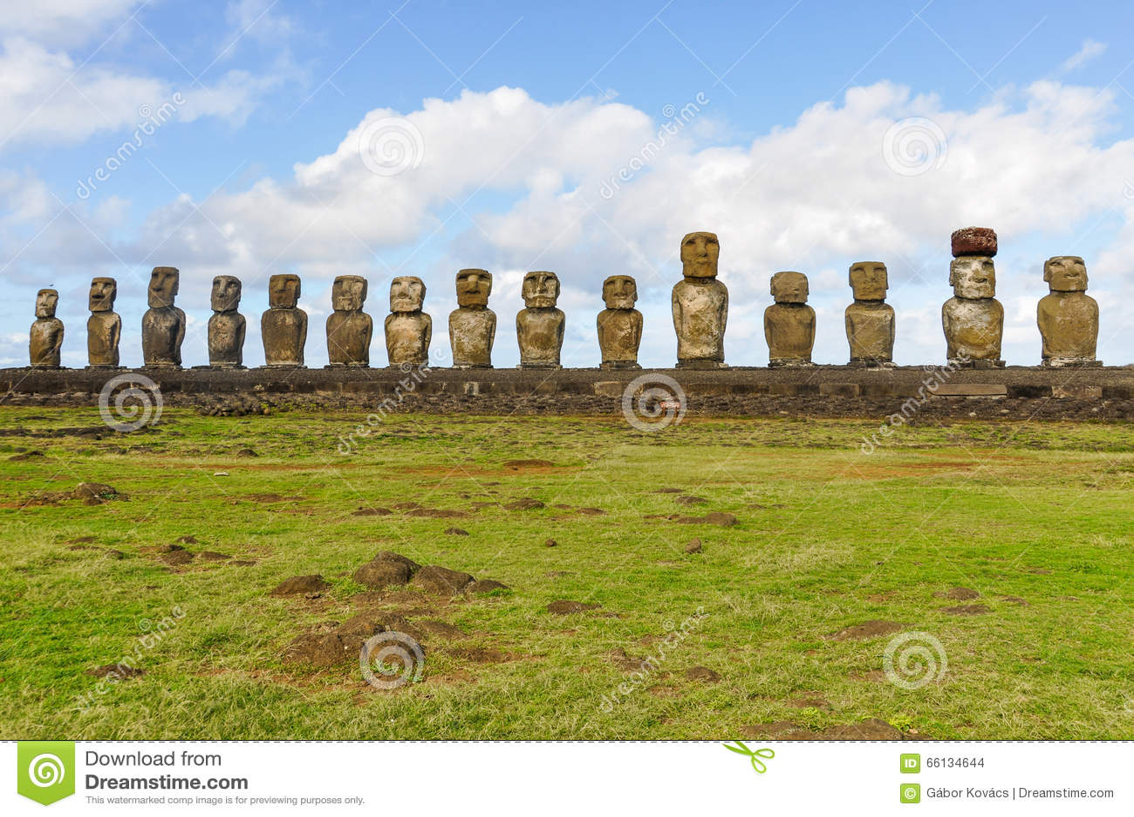 Moai On Ahu Tongariki Easter Island Chile Stock Photo