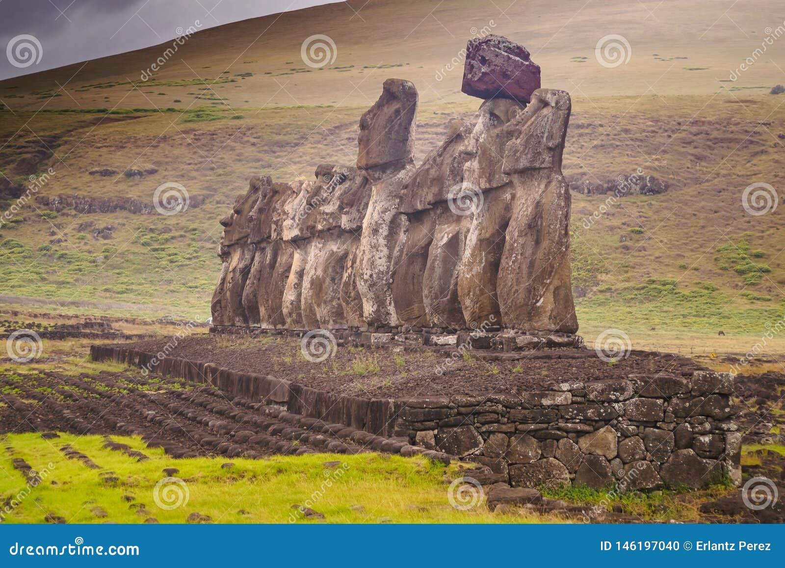 The 15 Moai Statues In Ahu Tongariki, Easter Island, Chile