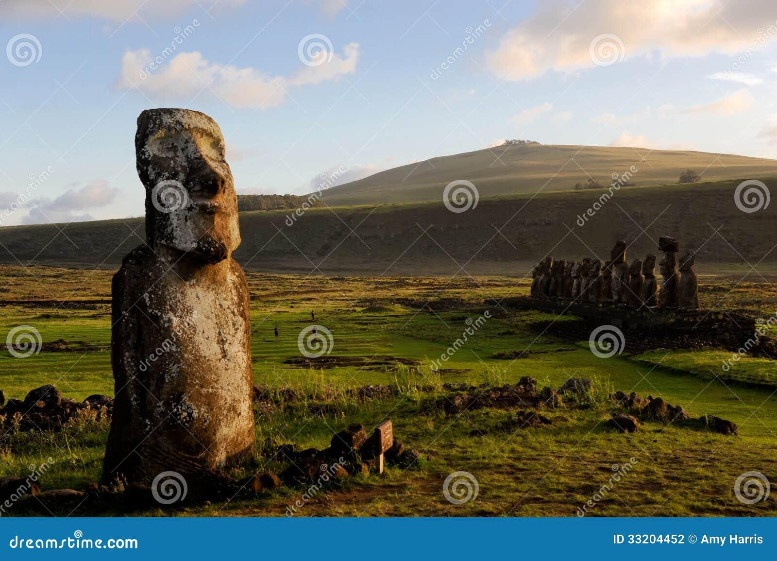 Moai statues on easter island stock photography image