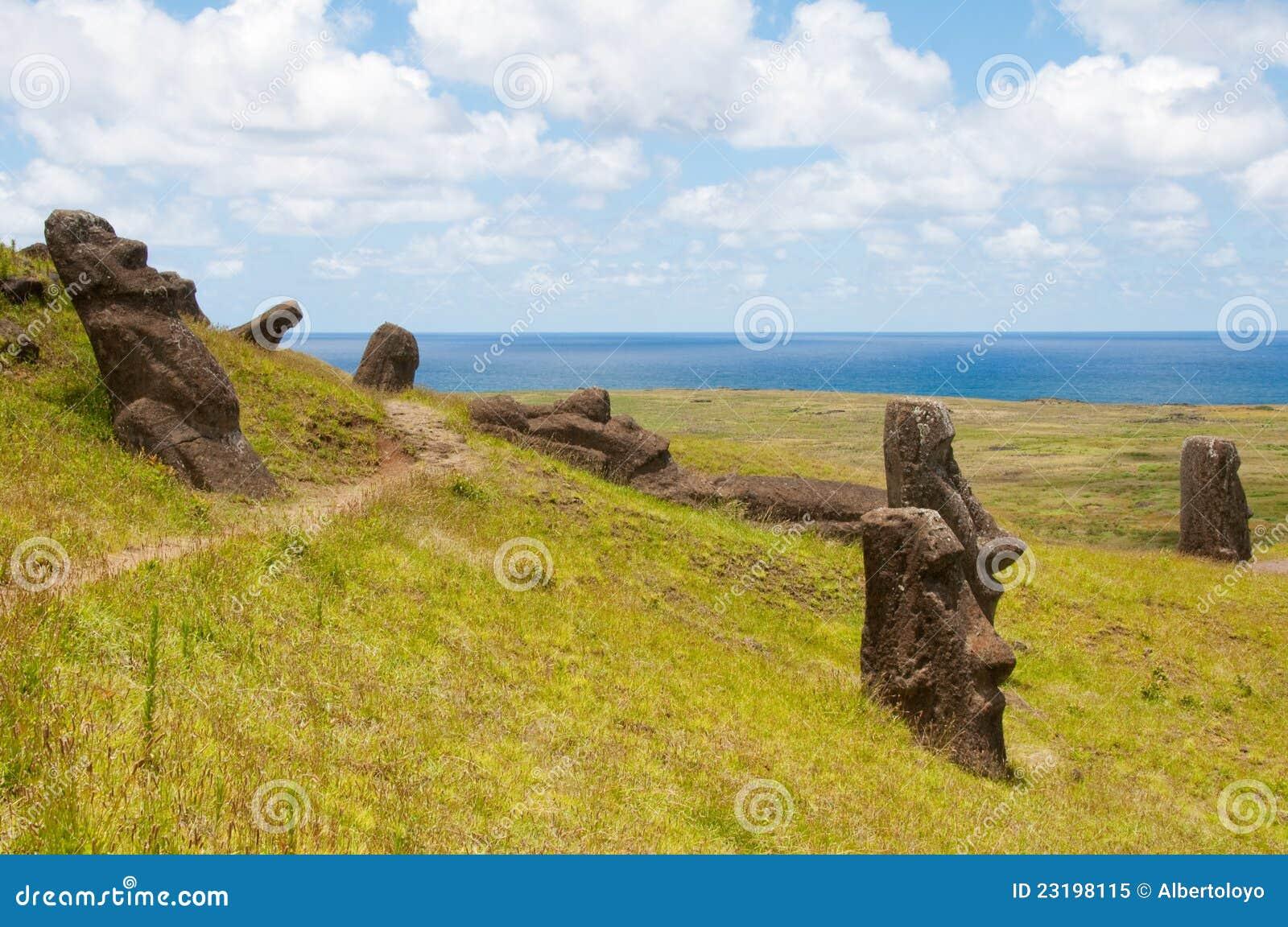 Moais at Rano Raraku, Easter island (Chile