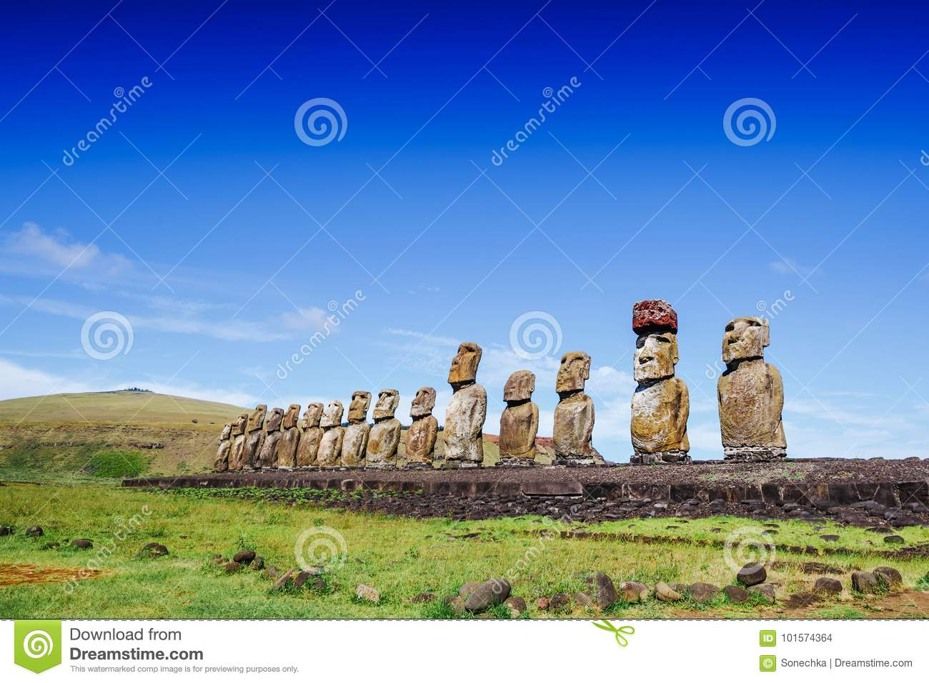 Moais statues on Ahu Tongariki - the largest ahu on Easter Island