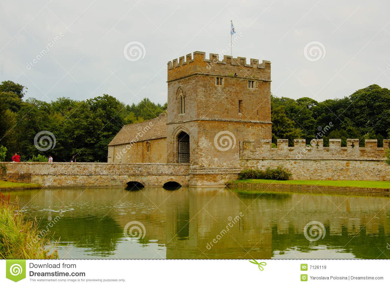 Moat And Manor House In The Medieval Castle Royalty Free