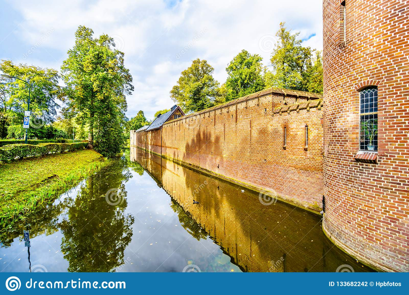 Moat surrounding Castle De Haar, a 14th century Castle completely restored in the late 19th Century