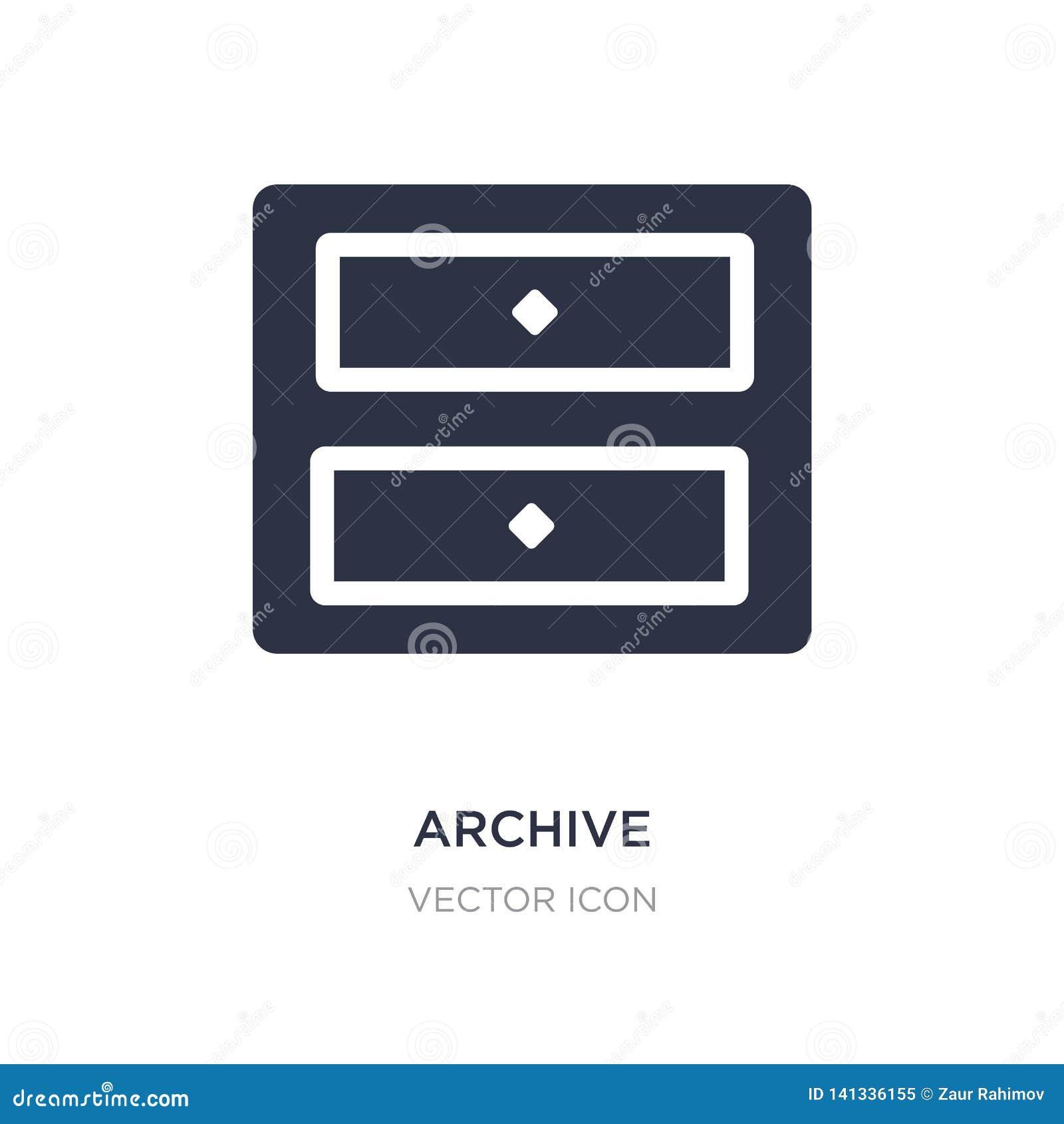 Mobília do arquivo do ícone de duas gavetas no fundo branco Ilustração simples do elemento do conceito de UI