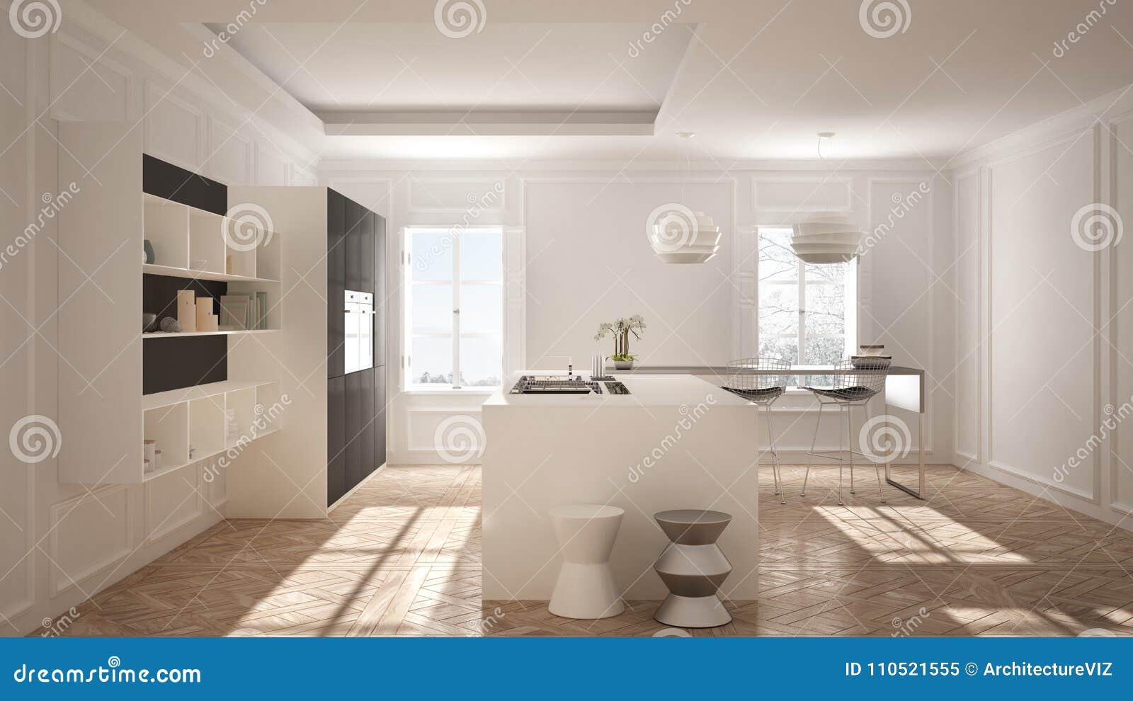 Mob Lia Moderna Da Cozinha Na Sala Cl Ssica Parquet Velho