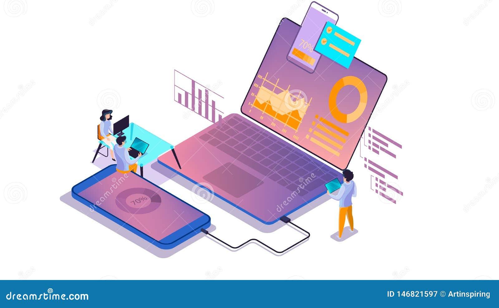 Mobiel app ontwikkelingsconcept Moderne technologieillsutration