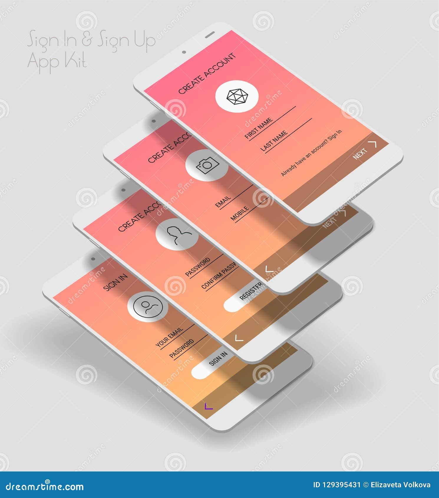 Mobiel App UI Teken binnen en Teken op uitrusting van het de schermen 3d model