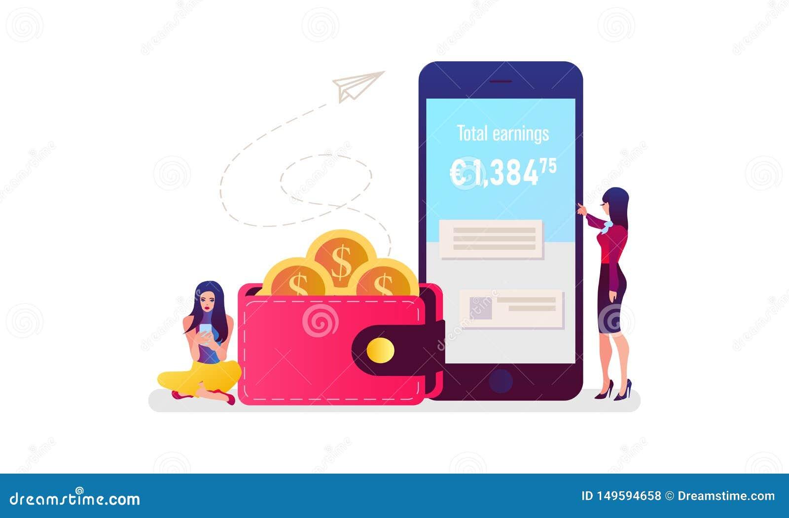 Mobiel betalingsconcept Online betalend rekeningen op tabletcomputer Vector illustratie