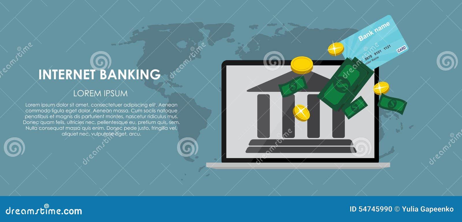 Mobiele Bankwezen Vectorillustratie Vlakke gegevensverwerking